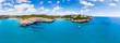 canvas print picture Aerial view, Spain, Balearic Islands, Mallorca, Porto Cristo Novo, Cala Mendia coast with villas and natural harbor