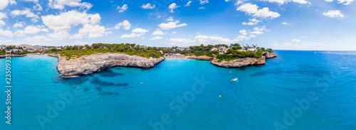 Aerial view, Spain, Balearic Islands, Mallorca, Porto Cristo Novo, Cala Mendia coast with villas and natural harbor