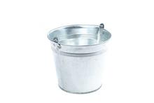 Gray Metal Bucket On A White B...