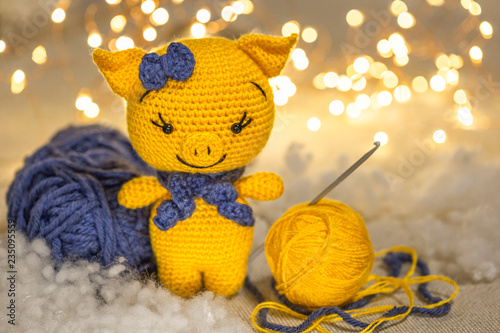 Crochet cute pink piggy in a blue dress Knitted Toy Amigurumi pig ... | 334x500