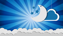 Hanging Moon Stars And Clouds - Vector Icons Over Blue Sunburst Background For Cards And Posters