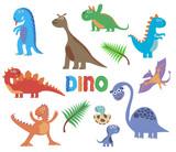 Fototapeta Dinusie - Cute dinosaurs. Baby cartoon smiling dinosaur animals isolated on white background, vector illustration