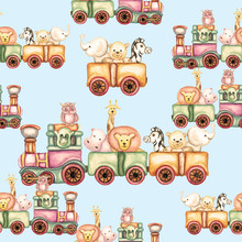Watercolor Seamless Pattern Of Animal Train