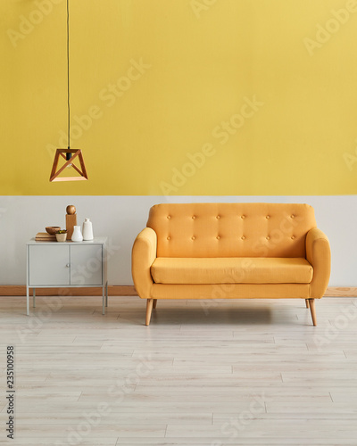 Modern yellow white wall yellow sofa with wooden lamp decor ...