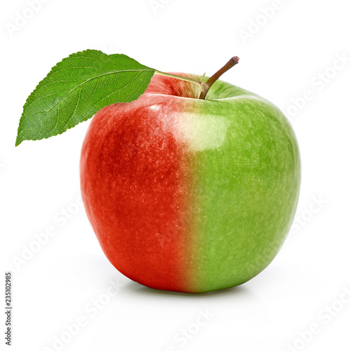 Staande foto Vruchten Red and green GMO apple isolated on white background