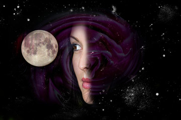 Woman, space and full moon