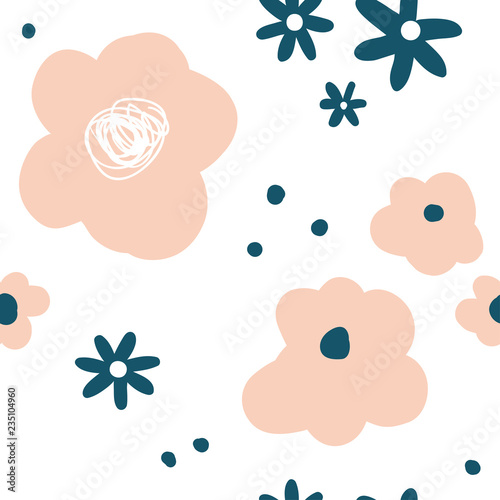 Flower Simple Minimalistic Seamless Pattern Graphic Design For Paper Textile Print Page Fill Abstract Floral Background With Hand Drawn Modern Plants Flowers And Leaves Pink White Buy This Stock Vector And,Royal Blue Wedding Cupcake Designs