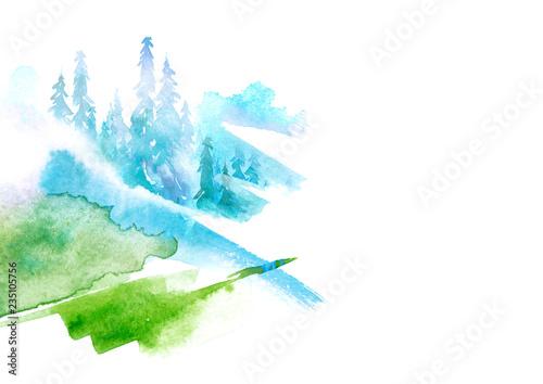 Poster Aquarel Natuur Watercolor art illustration. Drawing of the blue, green forest, pine tree, spruce, cedar. Dark, dense forest, suburban landscape. Postcard, logo, card. Misty forest, haze. Watercolor splash, logo