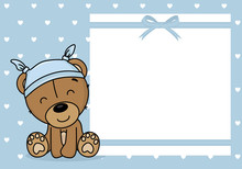 Baby Boy Shower Card. Bear With A Nightcap. Space For Text