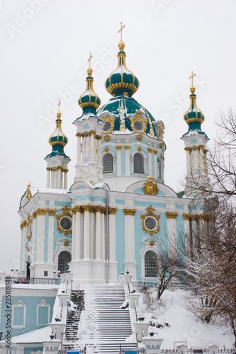St Andrew Church in Kiev at winter snow day