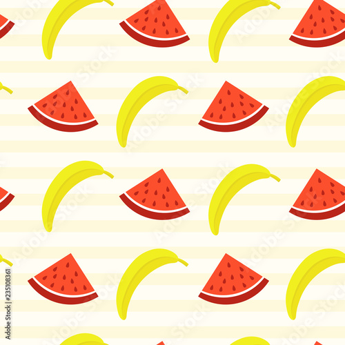 Vector Seamless Pattern With Watermelon Slice And Banana