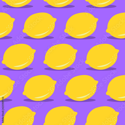 Vector Seamless Lemon Pattern Colorful Modern Food Background