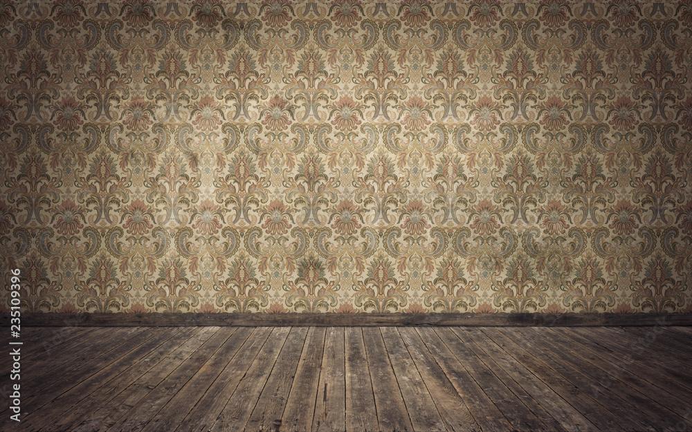 Fototapety, obrazy: Empty old vintage room background. 3d rendering