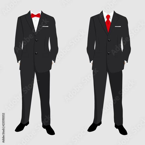 Fotografie, Obraz Wedding men's suit and tuxedo. Collection. Vector illustration.