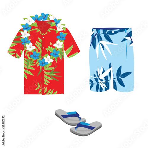 Hawajska koszula, letnie szorty plażowe, naszyjnik z kwiatów i klapki.