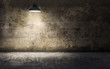 Dark empty room with old damaged concrete wall and ceiling lamp shining. 3d rendering