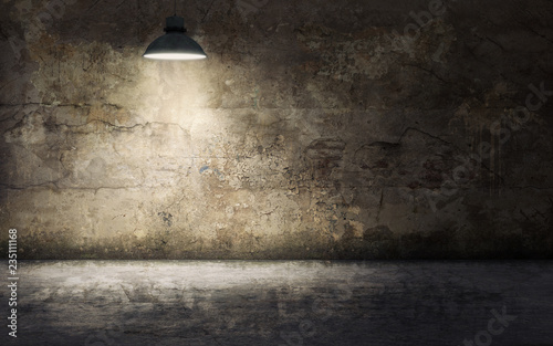 Fototapeta Dark empty room with old damaged concrete wall and ceiling lamp shining. 3d rendering obraz