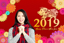 Happy Asian Woman With Chinese New Year 2019 Concept.chinese Text Happy Chinese New Year