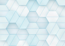 Blue Abstract Background With Hexagons