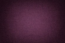 Dark Purple Background From A Textile Material With Wicker Pattern, Closeup.