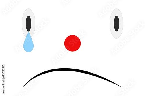 Fotografie, Obraz  Cara triste sobre fondo blanco.
