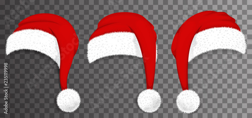 Fototapeta Christmas Santa Claus red hats isolated on transparent background. Vector illustration obraz