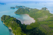 Aerial Drone View Of The Rugged, Beautiful Island Of Koh Yao Noi In The Phang Nga Bay Area Of Thailand
