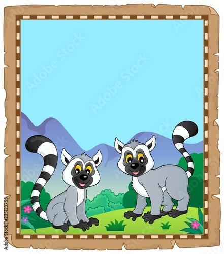 Parchment with two happy lemurs