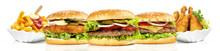 Hamburger Mit Pommes Frites Un...