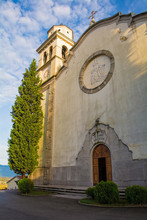 The Church Of Our Lady Of Sorrows In Mirenski Grad Near Miren In Primorska, Western Slovenia. This Neo-Romanesque Church Was Completed In 1931 And Is In The Diocese Of Koper