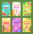 Summer Sale Posters Offer Set Vector Illustration