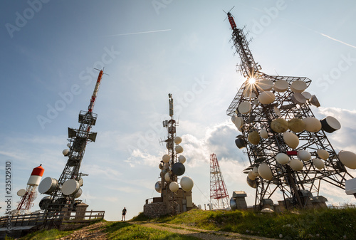 Tablou Canvas Antennas with numerous transmitters are on the mountain
