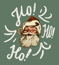 Vintage Santa Claus Face Smiling With Ho-ho-ho Lettering Christmas Card