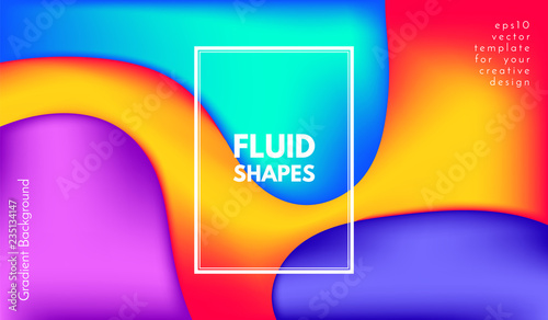 Fotografie, Obraz  Abstract Wave Color Shapes with 3d Effect.