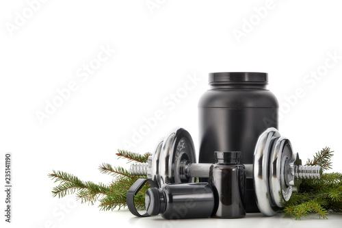 Sports nutrition and Christmas decorations. Obraz na płótnie