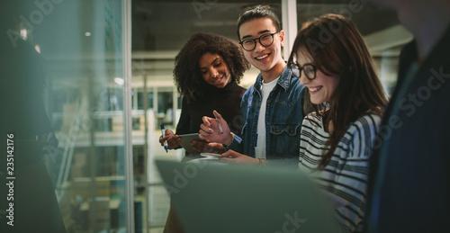 Obraz na płótnie Students enjoying studying at university workshop