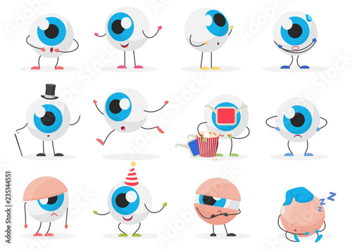 Fotomural Cartoon cute funny eye ball emoticon character emotions poses set