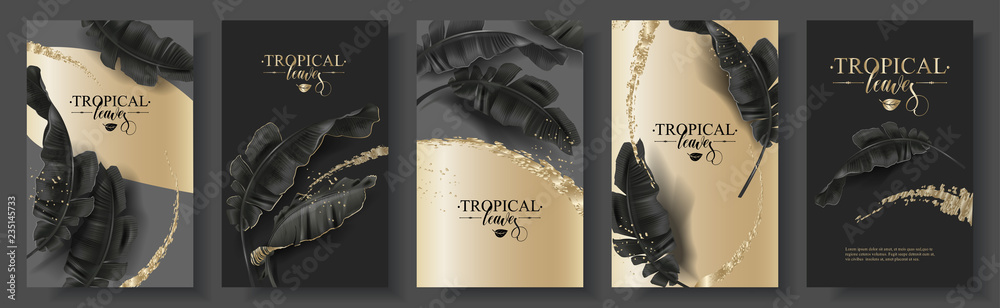 Fototapeta Tropic banana leaf black gold banner set