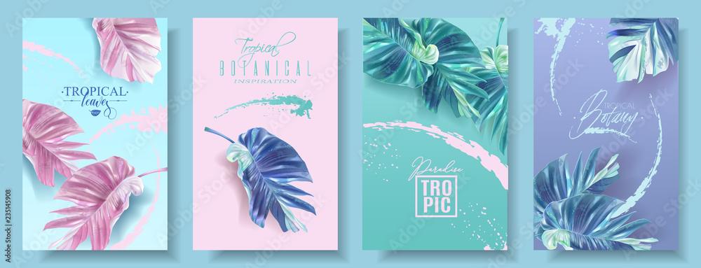 Fototapeta Vector banners set of alocasia tropic leaf