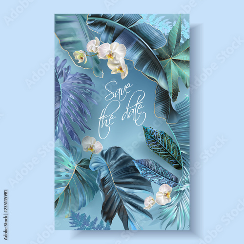 Poster Abstract bloemen Tropical leaves turquoise and violet wedding cards