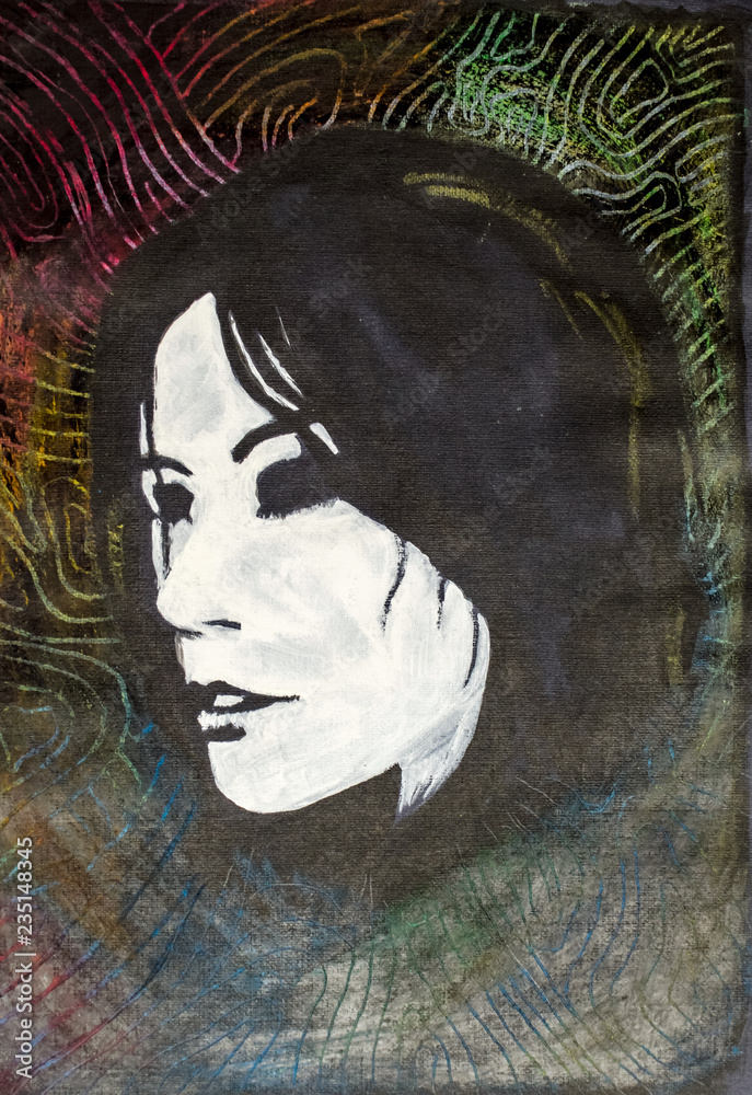 Painted portrait of a girl on black paper. Portrait of a brunette eyes of the artist.