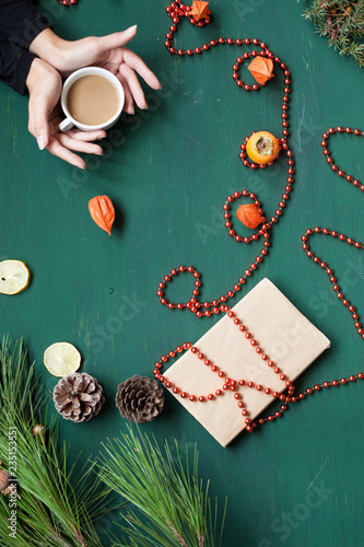 Fotografia  Christmas background winter new year holiday gifts