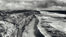 Aerial View Of Twelve Apostles In Black And White