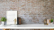 Leinwanddruck Bild - Stylish interior with mock up blank poster frame, plant, vintage books and copy space