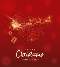 Christmas Gold Glitter Santa Claus Greeting Card