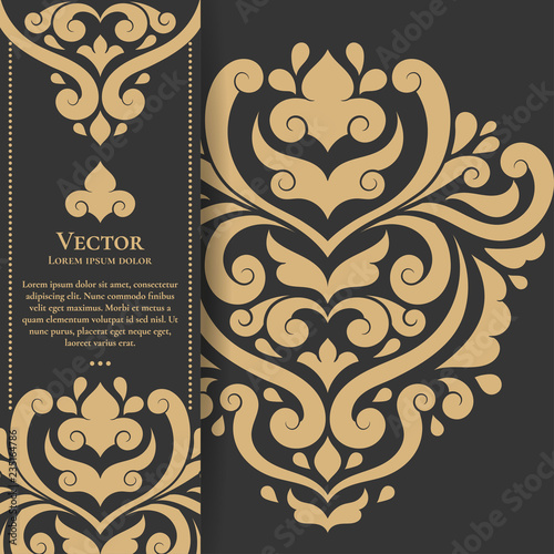 Printed kitchen splashbacks Butterflies in Grunge Gold vintage greeting card on a black background. Luxury vector ornament template. Mandala. Great for invitation, flyer, menu, brochure, postcard, wallpaper, decoration, or any desired idea.