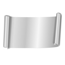 Silver Scroll Isolated On White Background. Gray Paper Roll Banner 3D. Ribbon Design For Christmas Frame, New Year Decoration, Curved Retro Border. Smooth Realistic Texture. Vector Illustration