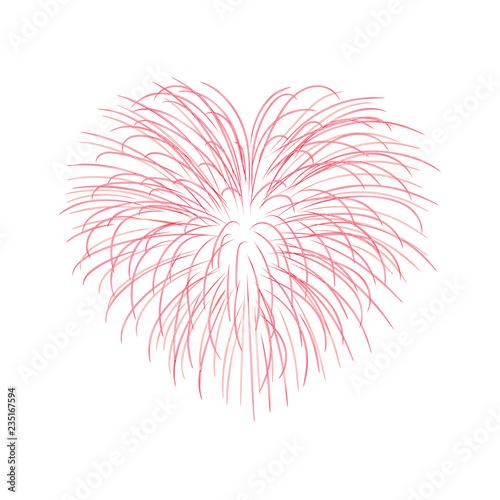 Beautiful heart-firework  Bright romantic salute, isolated