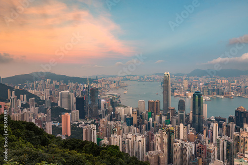 Fotobehang Stad gebouw The Peak mountain view Hong Kong central business downtown, cityscape background