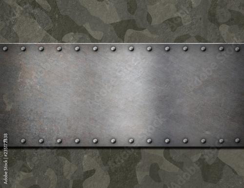 Pinturas sobre lienzo  metal plaque over military camouflage armor 3d illustration